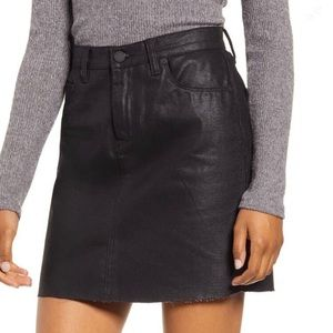 NWT Blank NYC Black Milla Coated Denim Skirt